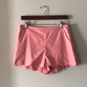 ASOS Peach Scalloped High Waisted Shorts